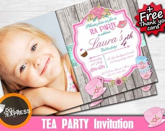 "Tea Party Birthday Invitation photo ""TEA PARTY INVITATION"" - Digital Tea party Party Invite, Chic Tea party Printable, Tea party Birthday"