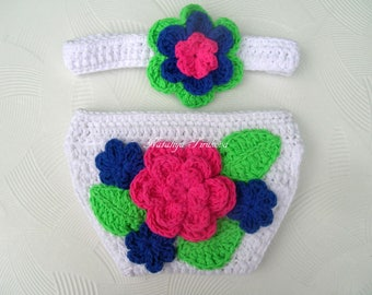 Crochet Headband and Diaper Cover Set/Photography Prop/girl/baby girl clothes/newborn girl photo prop/crochet girl outfit/Baby Shower Gift