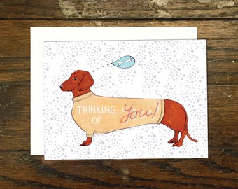 Thinking of You Wiener Dog Greeting Card