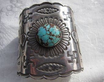 Antique Coin Silver Ingot Navajo Whirling Log Cuff  C.1920