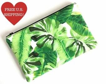 Tropical Zipper Pouch - Small Makeup Bag - Tropical Makeup Bag - Palm Leaf Bag - Pencil Pouch - Gift for Her - Cute Makeup Bag
