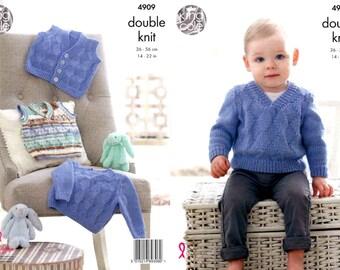 "King Cole Knitting Pattern 4909~Sweater, Waistcoat & Slipover~DK~14-22"""