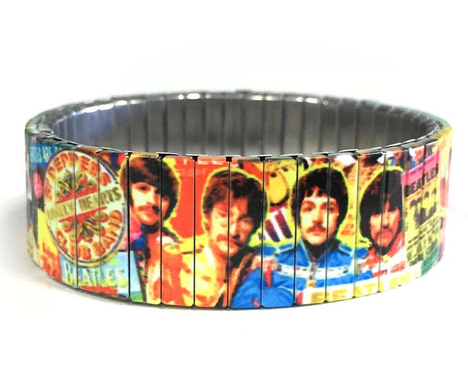 The Beatles-Wrist Art-Stretch bracelet-Rock-60's music-Stainless Steel-gift for friends-11th anniversary-Birthday gift