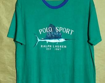 """Vintage Polo Sport Ralph Lauren Fish T-shirt Adult Large Size Chest 23"""""""