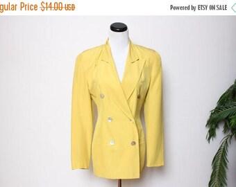 30% OFF VTG 80s 90s Tahari Silk Yellow Double Breasted Blazer S/M