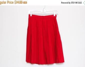 30% OFF VTG 80s Red Wool Pleated High Waist Skirt S