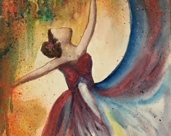 Dance of Colors 1, Water Color Painting, Colorful Wall Art, Home Decor, Contemporary Painting