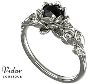 Floral Diamond Ring, Ring Floral Band, Gothic Engagement, Cute Solitaire  Ring, Leaf