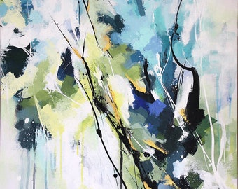 Abstract acrylic painting, abstract landscape, blue and green, contemporary art, original artwork
