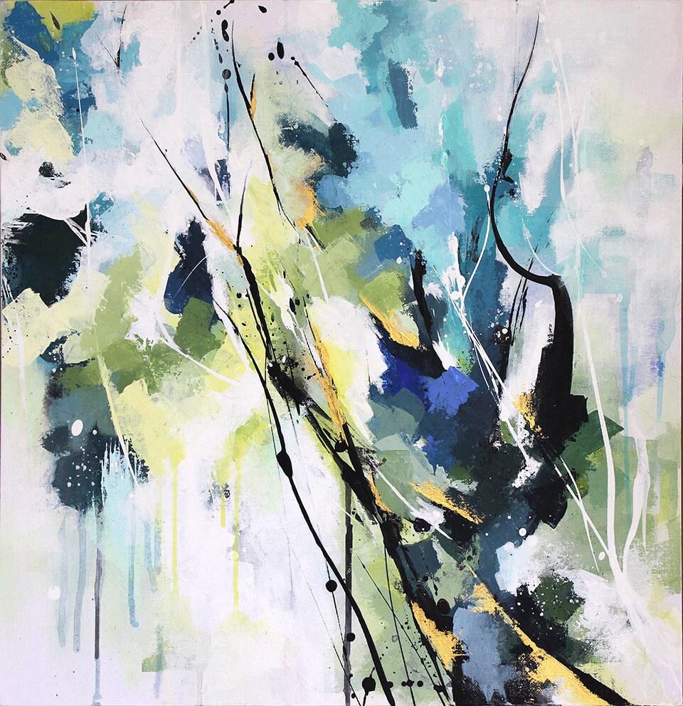 Souvent Peinture abstraite à l'acrylique Tableau contemporain RB66