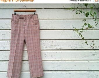 "BACK TO SCHOOL 60's Plaid Golf Pant/Haggar Slacks Golf Pant/Rose and Cream/Golf Pants/Perfect Polyester/Vintage Plaid/33""Waist/30""Inseam/*Fr"
