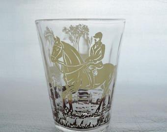 6 French VINTAGE SHOT GLASSES, French Vintage Hunt Glasses, Horse Glasses, 1940's.
