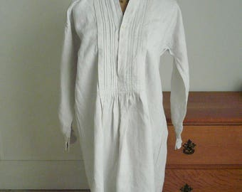 SALE,  Antique French Nightshirt, Linen Chemise, Vintage French Overshirt, Linen Dress, Artists smock,  Early 1900's.