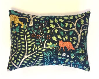 "Fox Pillow | Robert Allen Folkland Pillow | Robert Allen Admiral | Animal Print Pillow | 12""x16"" Pillow Cover and Insert"