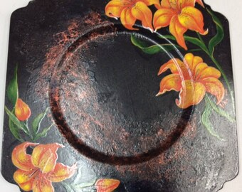 Painted Metal Plate - Square with Cut Out Corners - Tiger Lillies