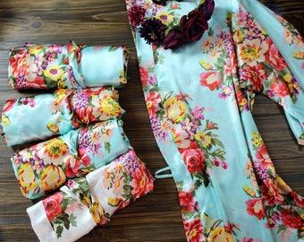 Floral Satin Bridesmaid Robe - Set of 1, 2, 3, 4, 5, 6, 7, 8, 9, 10, 11, 12, 13 - Wedding Robes - FLoral Robes - Silky Satin Robe Monogram