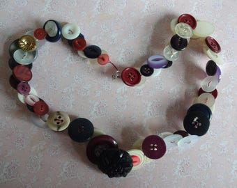 Vintage Button Necklace, Button Necklace, Large Button Necklace (N355)