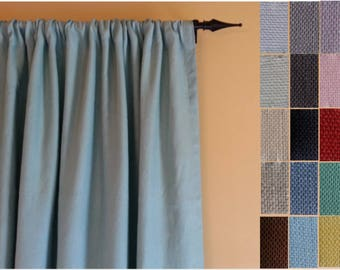 Curtain Panels: Pair of 100% Linen Curtains in your choice of colors