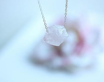 Raw Rose Quartz Necklace, Raw Crystal Necklace, Gemstone Necklace, Layering Necklace, Rose Quartz Jewelry, January Birthstone, Gift for her