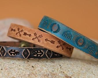 Bracelet men leather NAVAJO patterns .must summer 2017
