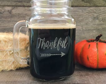 Thanksgiving Table Decor, Thanksgiving Table Centerpiece, Thanksgiving Glasses, Thankful Mason Jar Drinking Glass, Rustic Table Decor