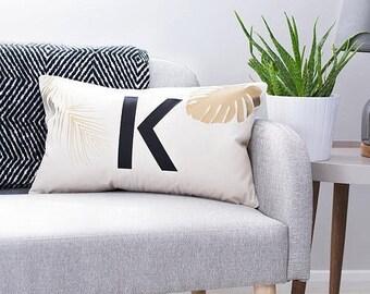 Personalised Tropical Cushion - Palm Leaf Cushion - Initial Letter Cushion - Personalised Cushion - Scandinavian Cushion - Custom Cushion
