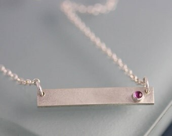 Bar Necklace Ruby Sterling Silver Personalized or Plain Sapphire or Emerald Option