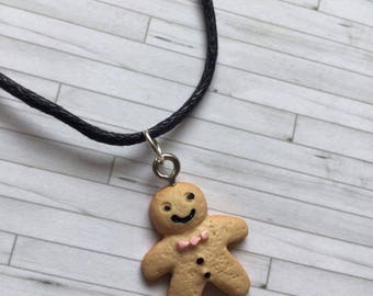 Gingerbread Man Choker, Gingerbread Man Necklace, Christmas Jewellery, Gift for Friend, Gift for Her, Birthday Gift, Gingerbread Man