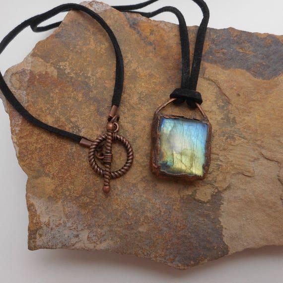 Multi Flash Labradorite Copper Electroformed Pendant