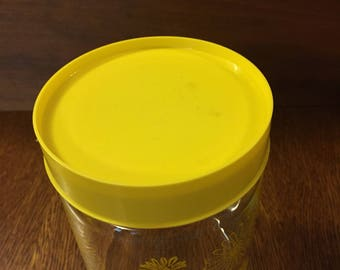 Yellow Corningware Vintage Canister, Corning Brand Glass Canister, Vintage Yellow Daisy Container