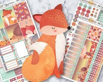 MINI Weekly KIT / Fall Critters / Planner Stickers / Fits Erin Condren Vertical & MAMBI / Watercolor / Forest Animals