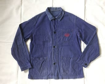 Vintage French Work Jacket 1960s Embroidery Patch Pocket