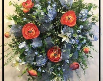 Summer Wreath Front Door Wreaths, Summer Wreath, Spring Summer Wreath, Silk Flower Wreath, Floral Wreath, Summer Door Wreaths, Spring Wreath