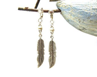 Feather silver plated clip on earrings