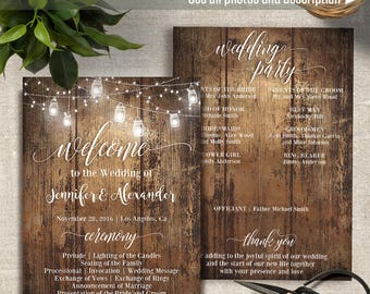 Rustic Wedding Program, Includes Fan style template, Printable Wedding Program, Instant Download Self Editable PDF P203