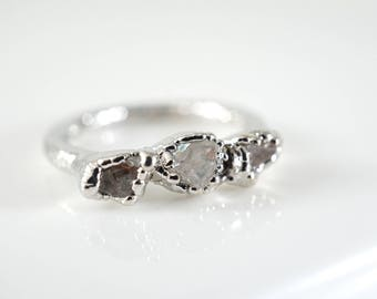 Raw Crystal Ring • Lake County Diamond Ring • Rough Crystal Ring • April Birthstone Ring • Minimalist Ring • Promise Ring • Delicate Ring