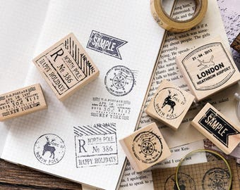 Postmark Stamps, Vintage Wooden Rubber Stamps, Diary Stamp Set