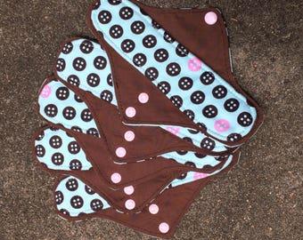 3 Reusable Panty liners, button print, teal pink brown, reusable pads, RUMPS, reusable pad set