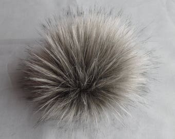 Size L (Warm grey) faux fur pom pom 5.5 inches/ 14cm