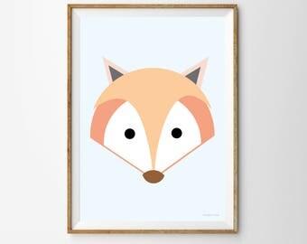 Fox Children's Print,fox, fox print, fox poster, nursery, nursery print, nursery poster, kids print