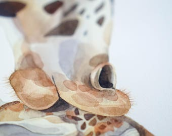 ORIGINAL watercolor PAINTING of a giraffes (two of two)