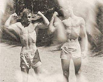 Vintage photo men flexing muscles on beach shirtless man bodybuilder antique photograph 1940s-PRINT