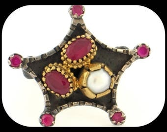 Authentic Turkmenistan White Pearl & Ruby Oxidized 925 Sterling Silver Star RING