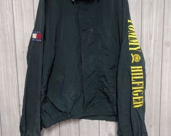 VTG tommy hilfiger Jacket XL Spell Out Stowaway Hood Hip sailling gear