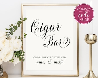 Cigar bar sign Wedding ideas Rustic wedding reception printable sign Cigar bar wedding sign Cigar bar printable idea Wedding shower