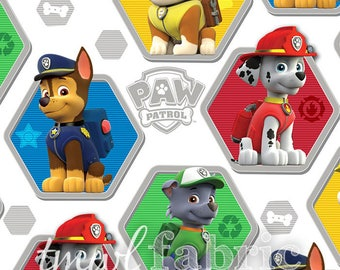 Woven Fabric - White-Multi Paw Patrol Rescue - Fat Quarter Yard +
