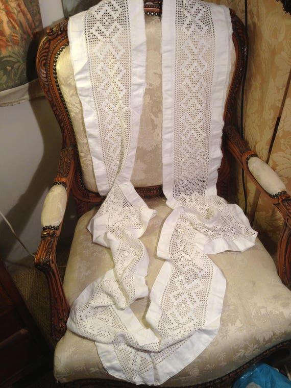 Crochet work lace insert edging. Edging. 39 inchesx8. Good