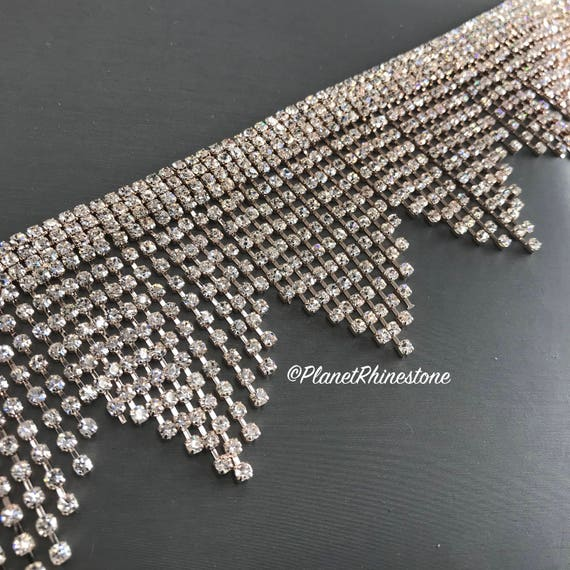 Rose Gold Large Fringe Rhinestone Trim #0529