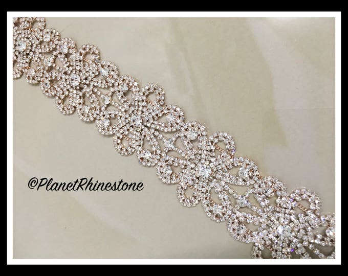 1 yard  Thick Floral Rhinestone Trim (Silver, Rose Gold, Gold, ) #T-8
