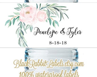 "Personalized Water Bottle Labels - Pink Roses Watercolor Eucalyptus Leaves - Wedding Favors 2""x8.5"" self-stick labels - Bottled Water Labels"